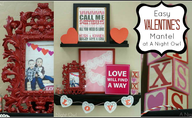 Cheap and Easy Valentines Mantel at @anightowlblog