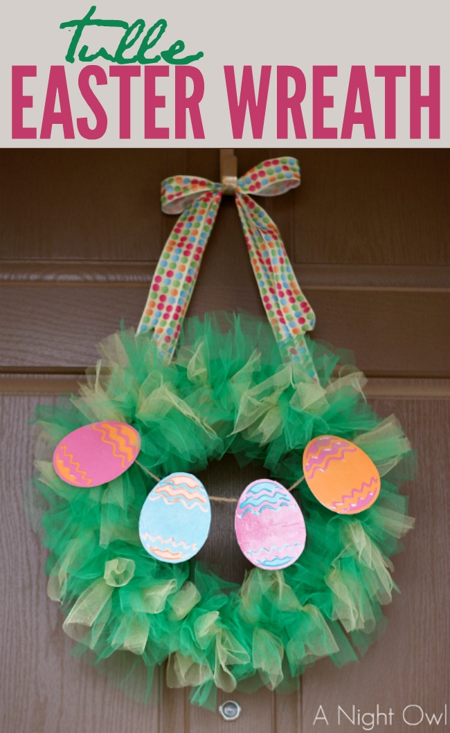 Such a fun and easy Tulle Easter Wreath!