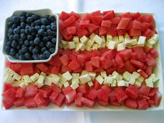 watermelon + blueberries + feta flag