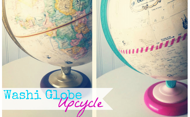 Washi Tape Globe Upcycle at @anightowlblog