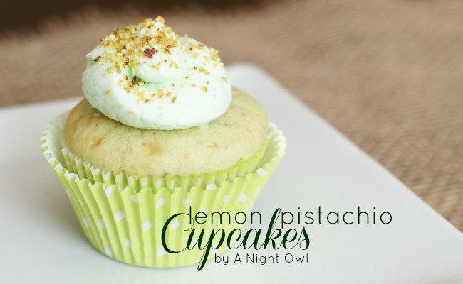Lemon Pistachio Cupcakes by @anightowlblog