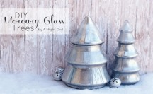 DIY Mercury Glass Trees Feature at www.anightowlblog.com