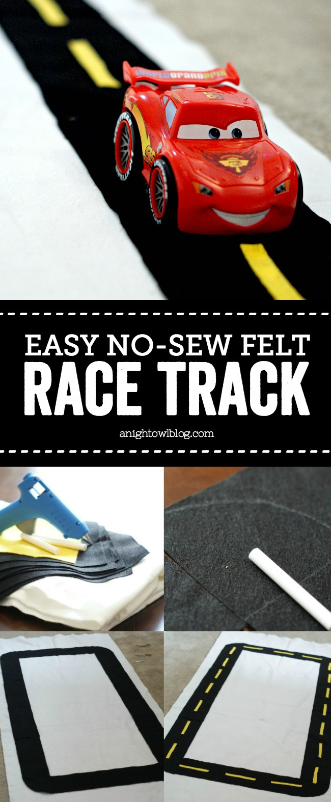 This Easy No-Sew Felt Race Track is perfect for Cars-loving kiddos! Make it in just an afternoon, rolls up for play time and time again!