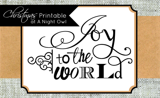 Joy to the World Natural Printable at @anightowlblog