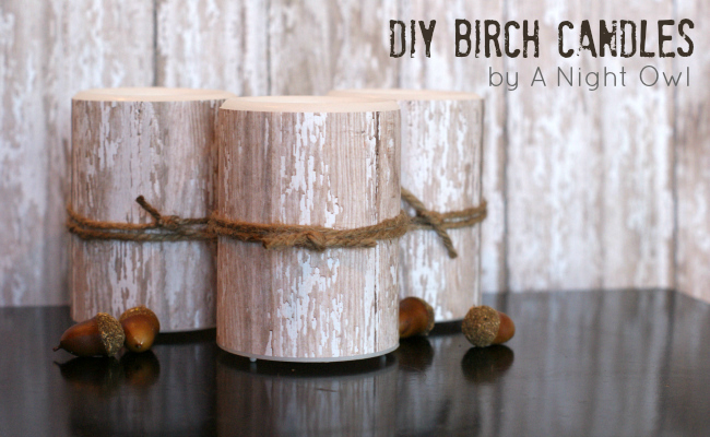 Knock-Off Birch Pillar Candles by @anightowlblog
