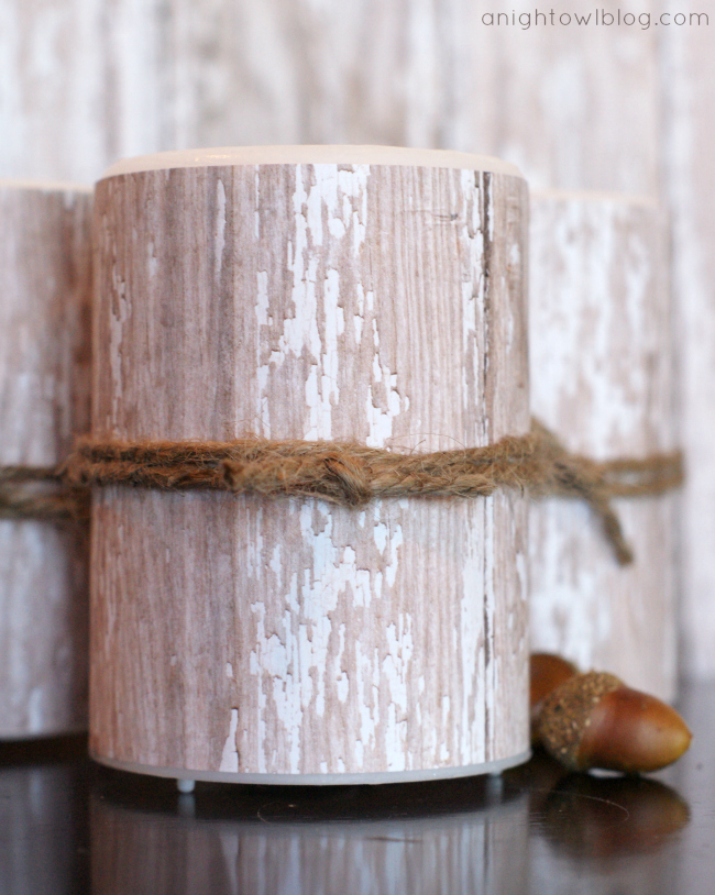 DIY Birch Candles - learn to create your own faux birch candles in just minutes at anightowlblog.com | #potterybarn #knockoff #birch #candles