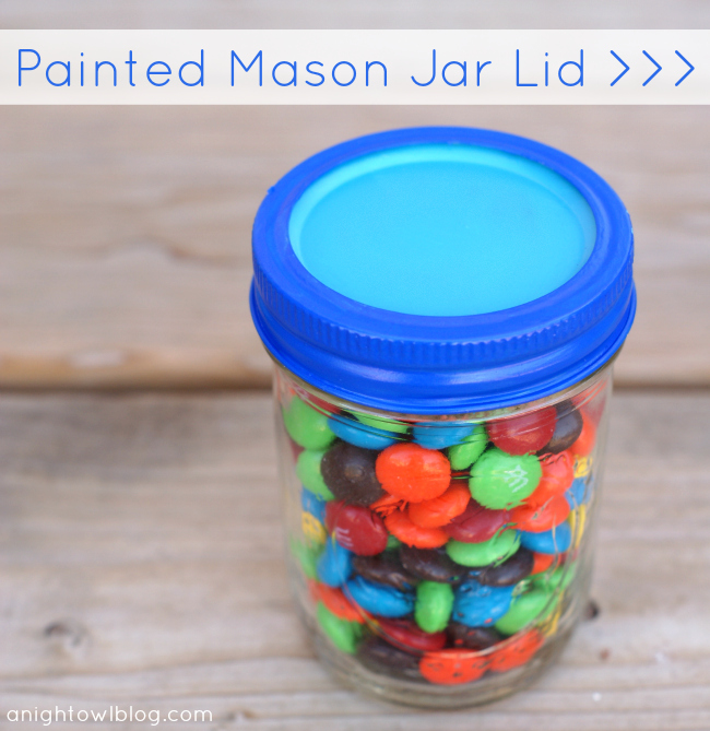 Painted Mason Jar Lid at @anightowlblog