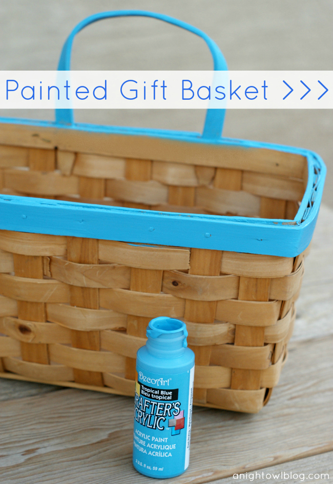 Ombre Painted Gift Basket at @anightowlblog