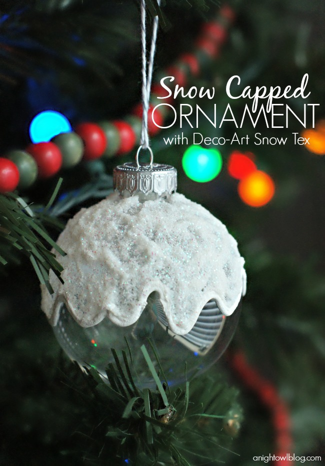 Make a fun and easy Snow-Capped ornament this year with DecoArt Snow Tex!