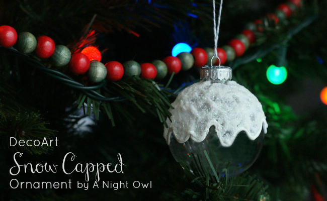 DecoArt DIY Snow Capped Ornament by @anightowlblog