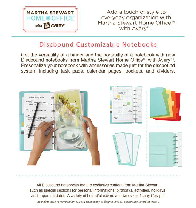 Martha Stewart  Home Office with Avery Discbound Customizable Notebooks
