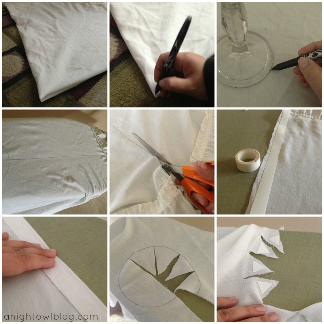 Thrifted Tablecloth Tree Skirt Tutorial at @anightowlblog