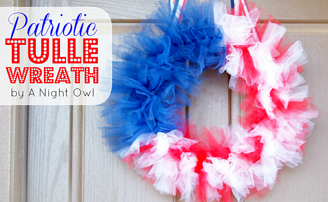 Patriotic Tulle Flag Wreath at @anightowlblog
