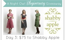 A Night Owl Blogiversary Giveaway - Day 3 - Shabby Apple
