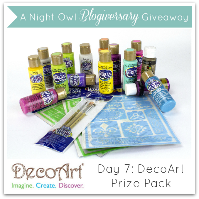 A Night Owl Blogiversary Giveaway - Day 7 - DecoArt Prize Pack