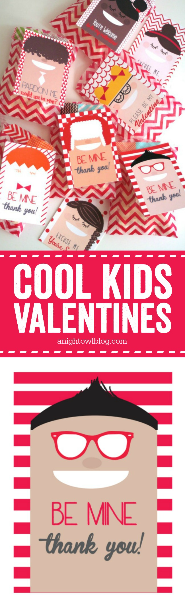Download these adorable Cool Kids Valentines Printables and attach for the cutest class valentines around!