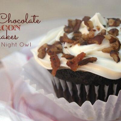 Yummy Dark Chocolate Bacon Cupcakes - perfect Valentines treats for your man! { anightowlblog.com }