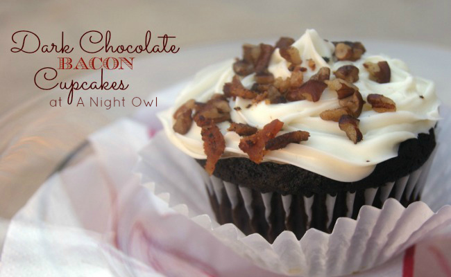 Yummy Dark Chocolate Bacon Cupcakes - perfect Valentines treats for your man! { anightowlblog.com }