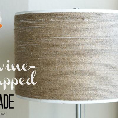 DIY Twine-Wrapped Lampshade at anightowlblog.com | #twine #lampshade #lighting #decor