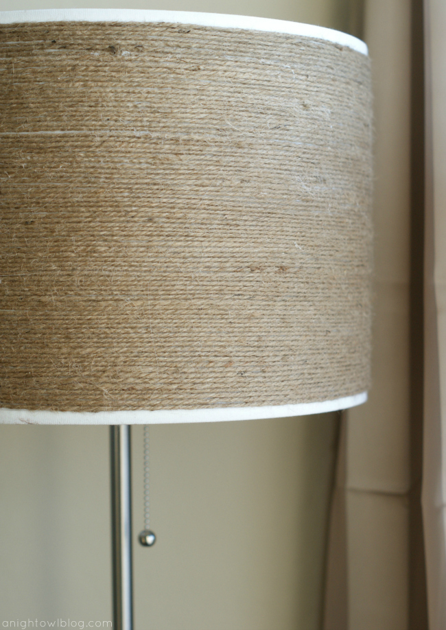 How to make a DIY Twine-Wrapped Lampshade at anightowlblog.com | #twine #lampshade #lighting #decor