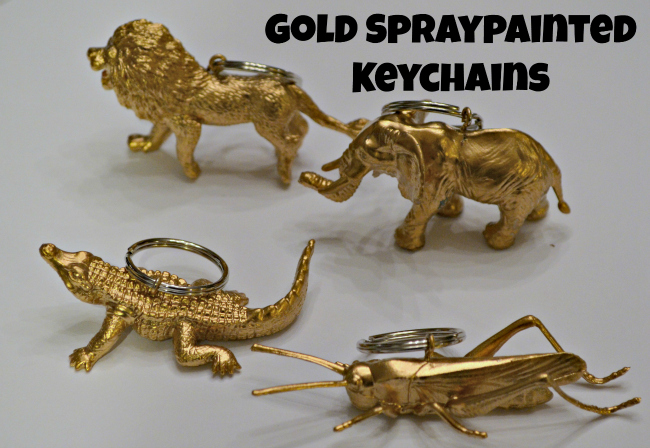 Gold Spraypainted Animal Keychains