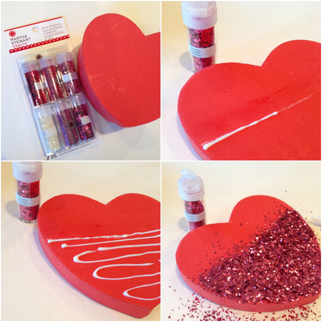 Dipped Glitter Heart Tutorial with #MarthaStewartCrafts #12MonthsofMartha