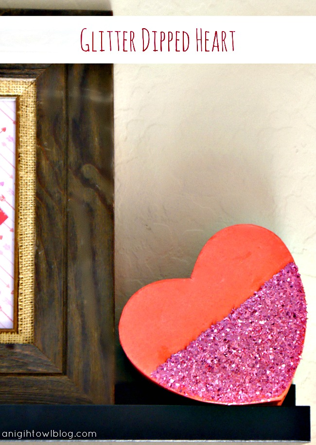 DIY Glitter Dipped Heart made with #MarthaStewartCrafts! #12MonthsofMartha