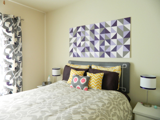 geometric bedroom art by two live colorfully