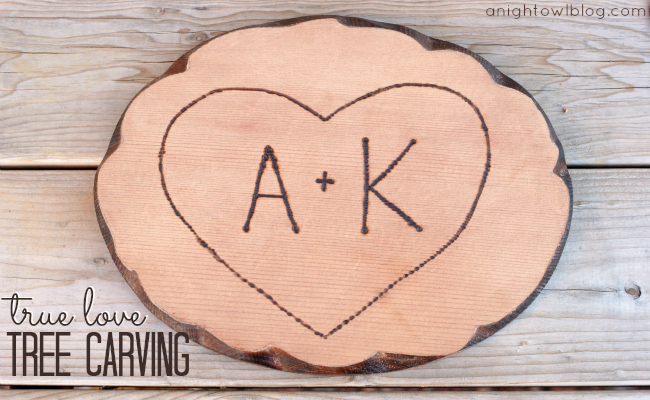 True Love Tree Carving - upcycle a Goodwill plaque into a cute and loveable wood carving for your home!