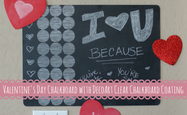 Turn a placemat into a chalkboard with DecoArt Clear Chalkboard Coating { anightowlblog.com } #valentines #chalkboard