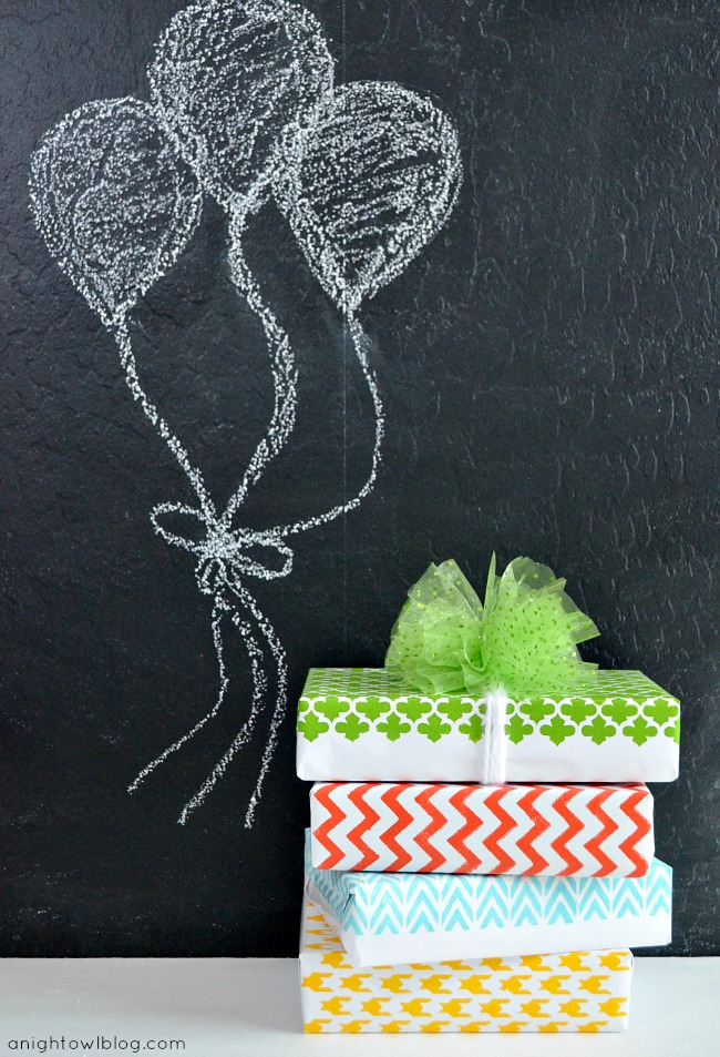 DIY Stenciled Wrapping Paper #MarthaStewartCrafts #12MonthsofMartha