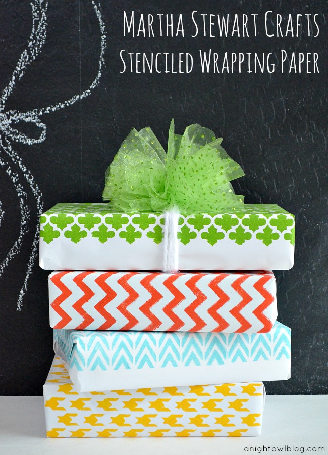 DIY Stenciled Wrapping Paper with #MarthaStewartCrafts #12MonthsofMartha