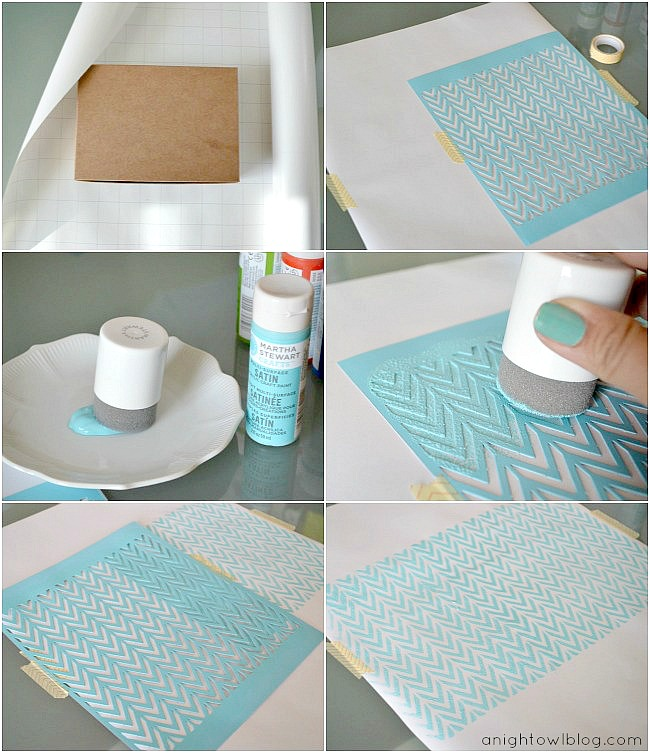 DIY Stenciled Wrapping Paper Tutorial #MarthaStewartCrafts #12MonthsofMartha