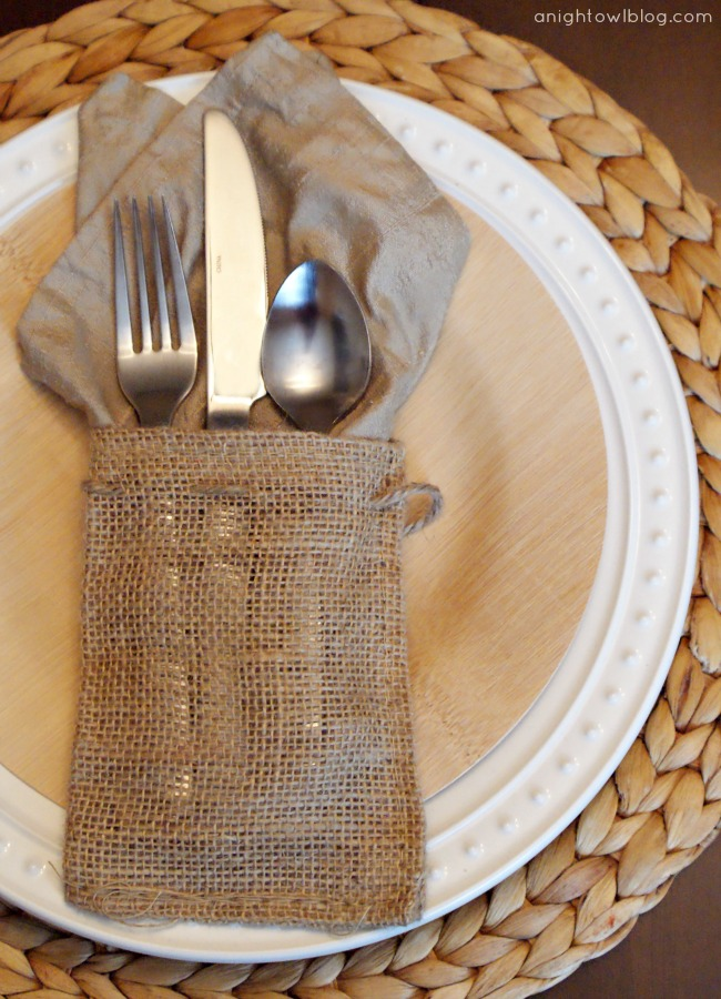 A natural easter tablescape a night owl blog Burlap bag decorating ideas