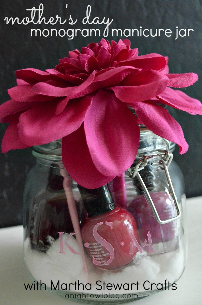Manicure supplies in a monogram jar - what a fun gift idea!