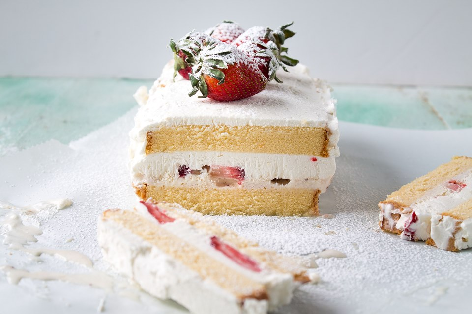 Strawberries and Cream Ice Cream Cake - A Night Owl Blog