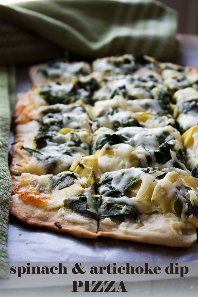 If you love Spinach and Artichoke Dip, then you'll LOVE this amazing pizza!