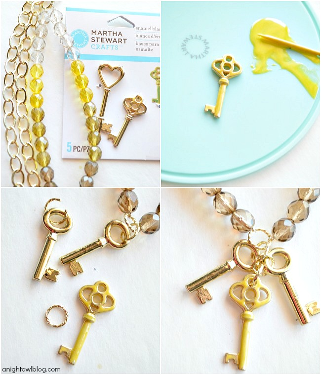 DIY Golden Skeleton Key Necklace with Martha Stewart Crafts® Jewelry | #12monthsofmartha #marthastewartcrafts #jewelry #tutorial