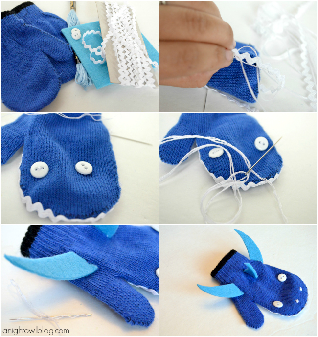 Beastly Mittens - how to make a Shark Mitten from Martha Stewart's Favorite Crafts for Kids