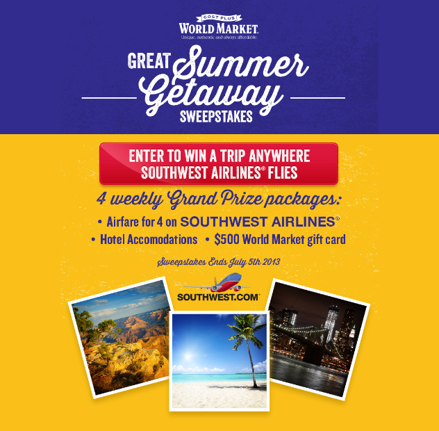 Great Summer Getaway Sweepstakes with World Market #SummerFun