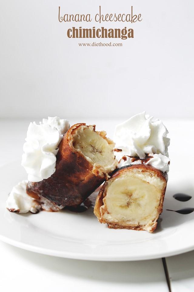 Banana Cheesecake Chimichangas | www.diethood.com | www.anightowlblog.com | #recipe #bananas #chimichanga
