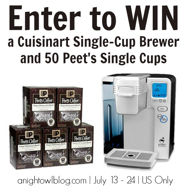 Enter to WIN a Cuisinart Single-Cup Brewer and 50 Peet's Single Cups!