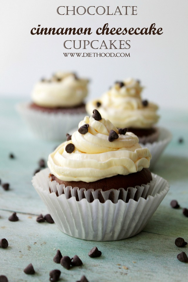Chocolate Cinnamon Cheesecake Cupcakes | www.diethood.com | www.anightowlblog.com | #recipe #cupcakes #chocolate