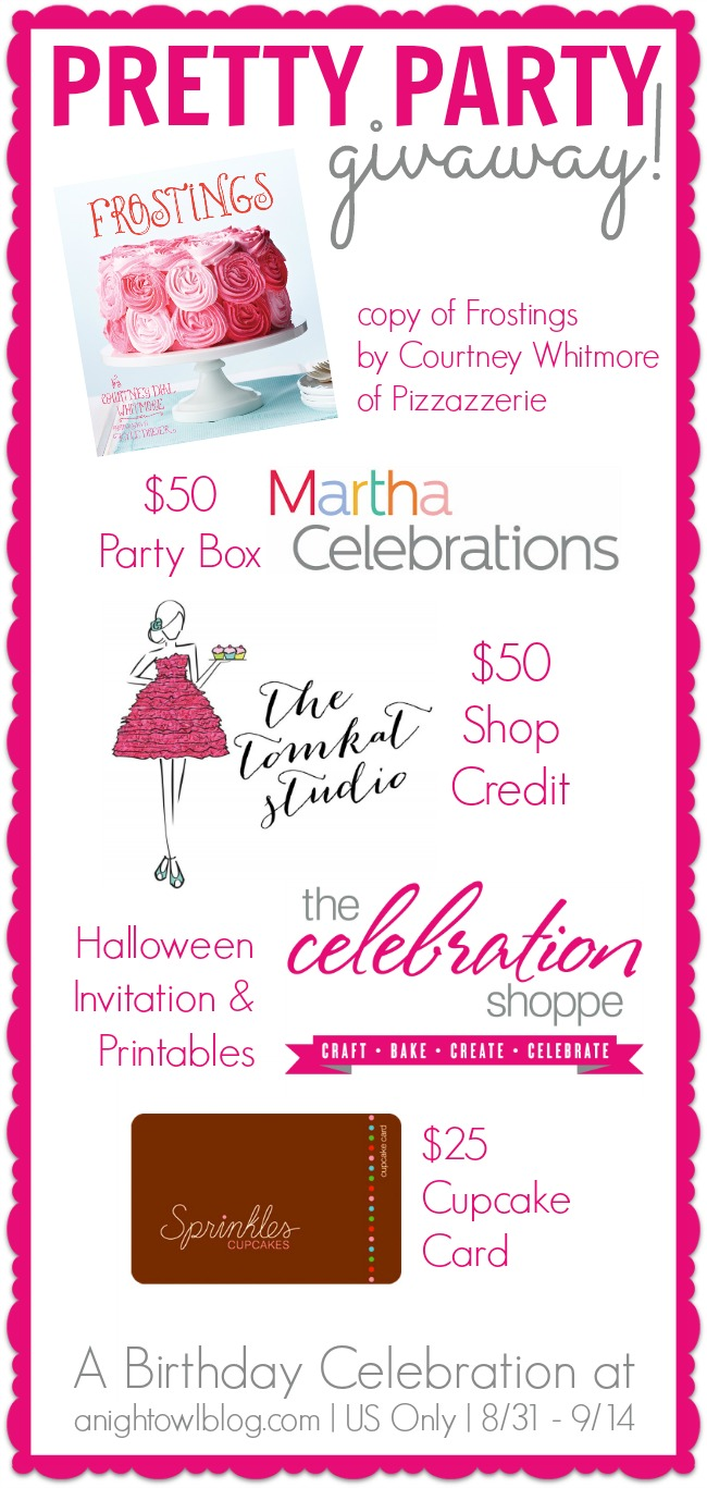 Pretty Party Giveaway at anightowlblog.com! Prizes from TomKat Studio, Martha Celebrations, The Celebration Shoppe and a copy of Frostings by Courtney Whitmore!