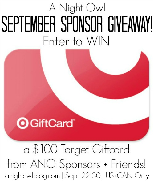 ANO September Sponsor Giveaway | anightowlblog.com | Ends 9/30