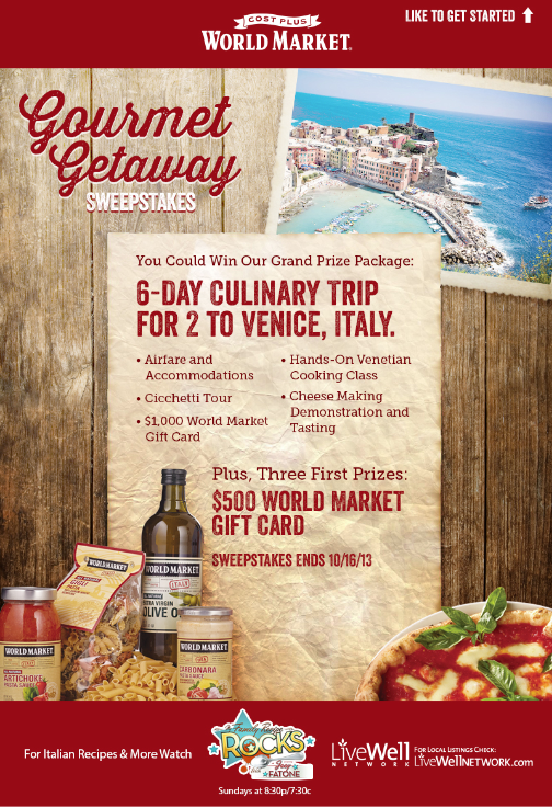 Gourmet Getaway Sweeps with World Market #GourmetGetaway