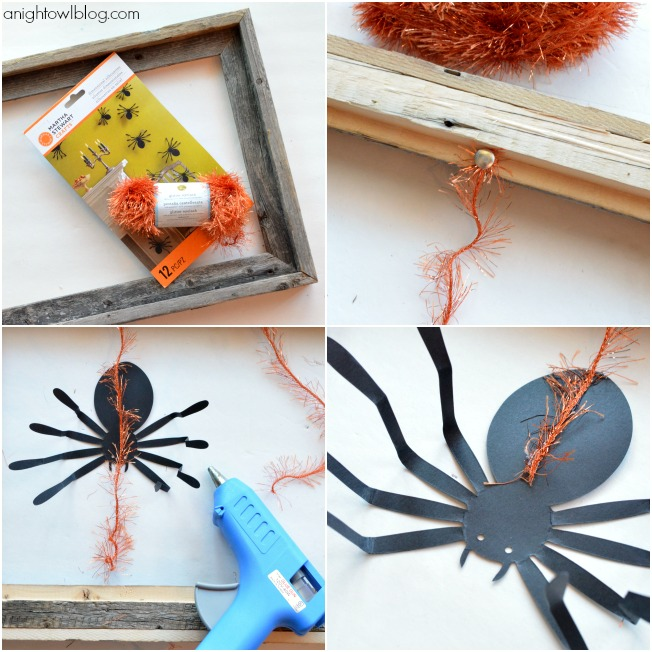 How to make a Hanging Spider Frame with Martha Stewart Crafts at anightowlblog.com | #12monthsofmartha #marthastewartcrafts #halloween