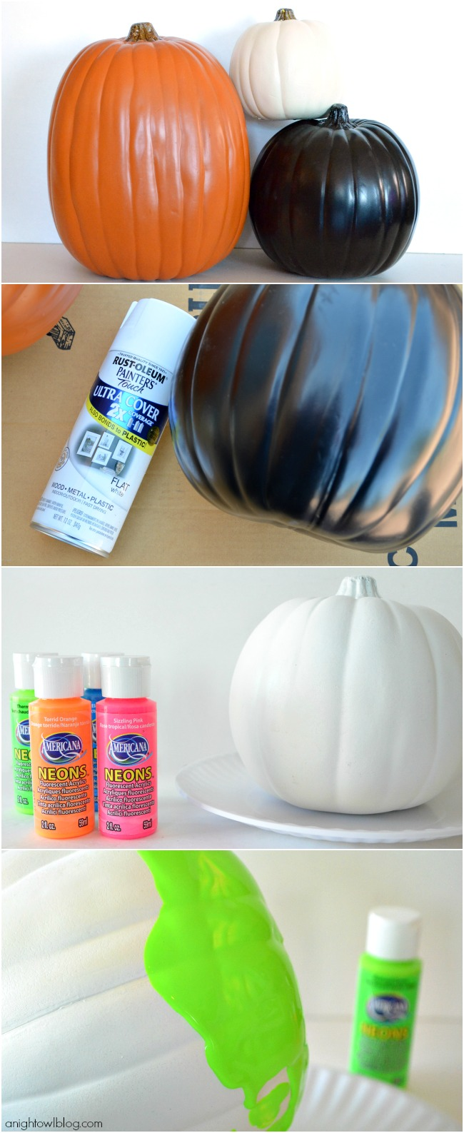 How to make Neon Paint Dipped Pumpkins | #neon #paintdipped #pumpkins #halloween #fall #MPumpkins