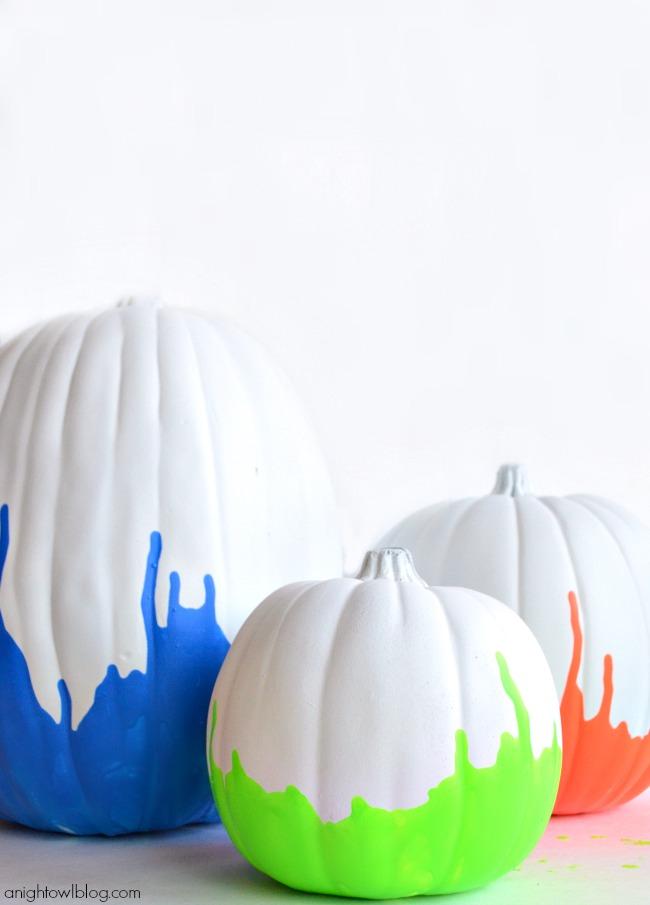 Neon Paint Dipped Pumpkins | #neon #paintdipped #pumpkins #halloween #fall #MPumpkins