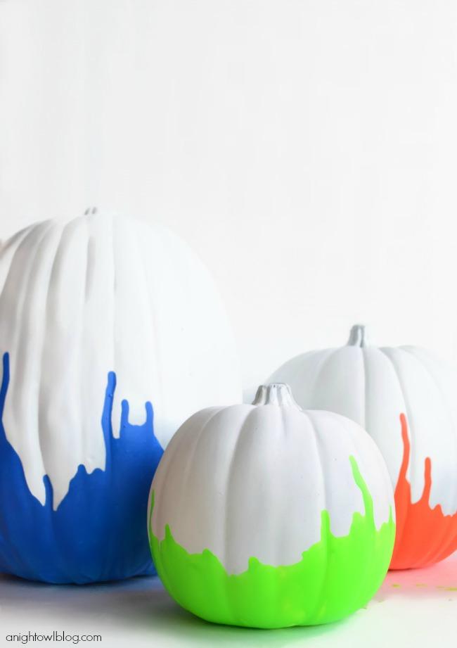 Neon Dipped Pumpkins